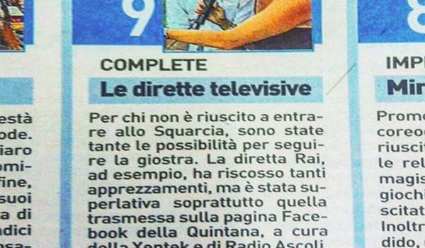 Voto 9 a Radio Ascoli per la diretta della Quintana di Agosto!