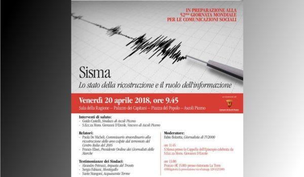 Venerdì 20 aprile a Palazzo dei Capitani il convegno sul sisma