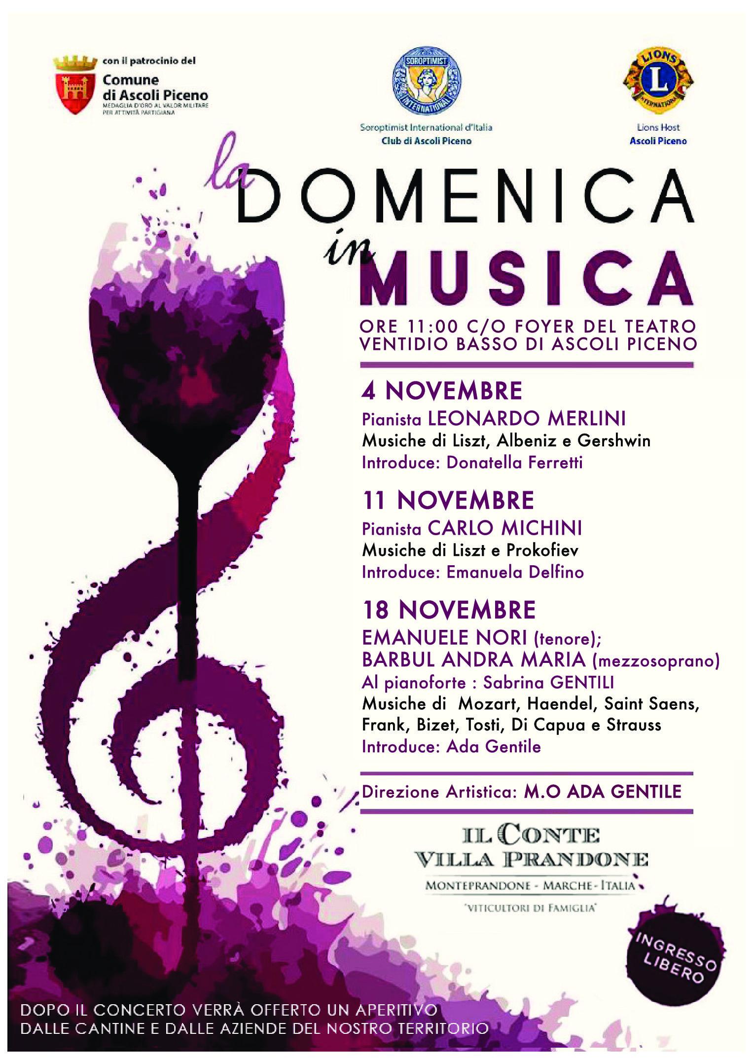"""4^ EDIZIONE """"DOMENICA IN MUSICA"""" CON ADA GENTILE"""