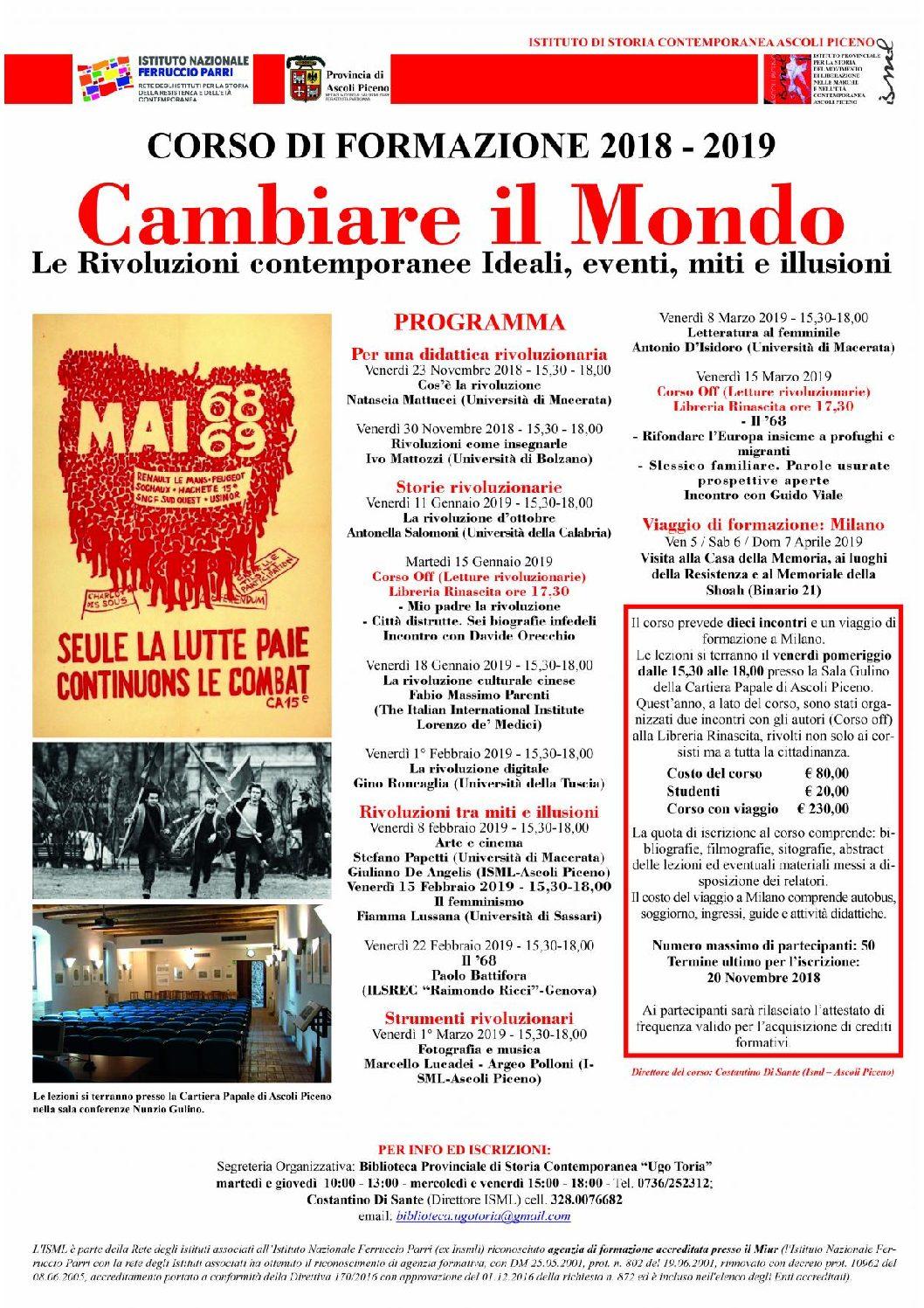 """ISML -SCADENZA IL CORSO """"CAMBIARE IL MONDO"""""""