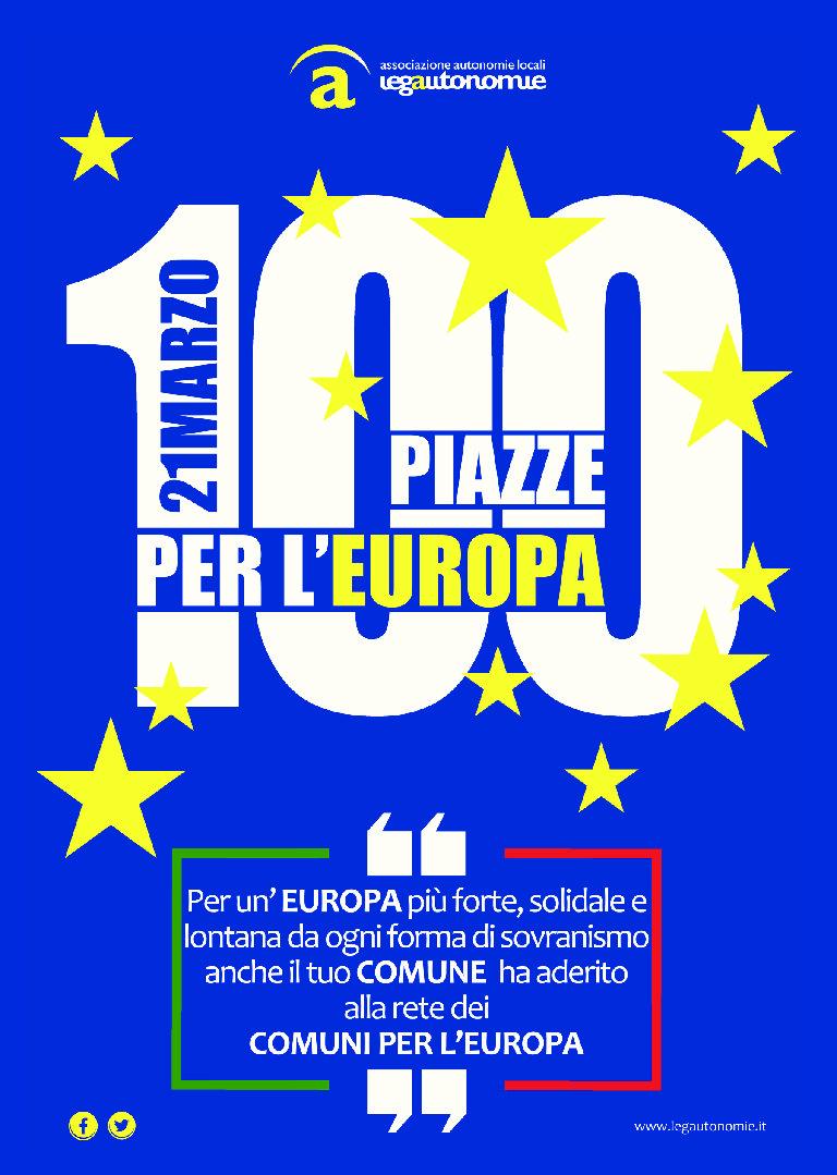 21 MARZO: 100 PIAZZE PER L'EUROPA